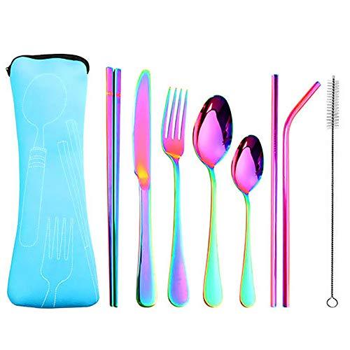 Keyzone – Cubiertos de mesa multicolor de acero inoxidable arcoíris, juego de cuchillos, tenedor y cuchara, cuchara de té de plata de mesa para cenar