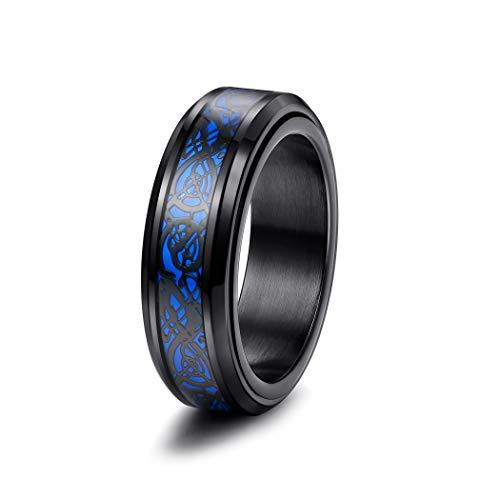 Yadoca 8MM Acero Inoxidable Anillo Giratorio para Hombres Fibra de Carbono Azul Dragón Celta Negro Anillo Banda de Boda