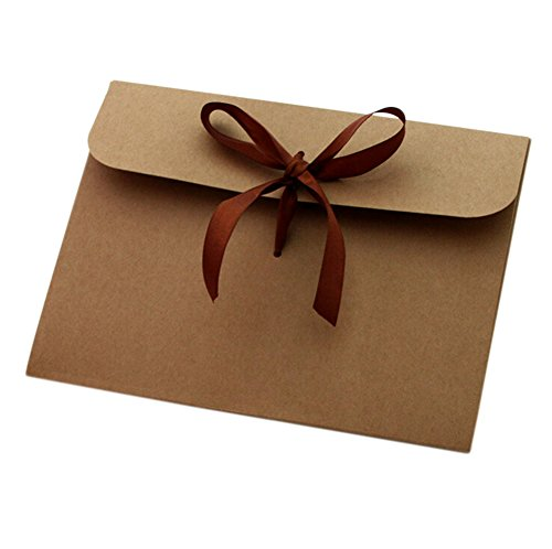 100x toruiwa sobre Vintage papel kraft Mini sobres decorado con cinta lazo para tarjeta carta regalo creativo DIY tarjetas de felicitación postal regalo de 12,6* 17.3cm marrón