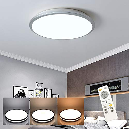 DLLT - Lámpara de techo LED 35 W, regulable, color plateado, ultrafina, iluminación con mando a distancia, incluye 86 – 256 V, 2800 lm, 6000 K, para salón, cocina, dormitorio (cambio color)