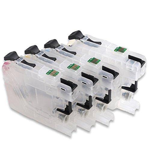 Cartuchos HEMEI@ recargables para tinta con 4 piezas de LC223 LC221 para impresora DCP-4120DW, J562DW, MFC-J4420DW, J4620DW, J4625DW, J5320DW, J5620DW, J5625DW, J5720DW, J480DW, J680DW y J880DW
