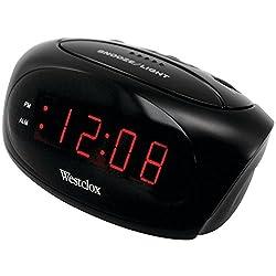 Westclox 70044A (Black) Super-Loud LED Electric Alarm Clock, Standard