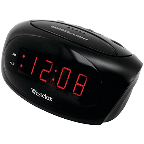 Westclox 70044A (Black) Super-Loud LED Electric Alarm Clock, Standard