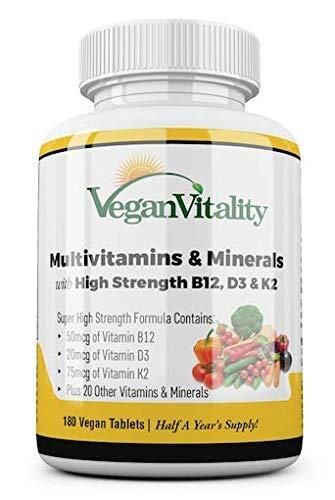 Multivitamine vegetali e minerali ad alto contenuto di vitamine B12, D3 e K2. 180 compresse multivitaminiche - 6 mesi di fornitura. Ideato per vegani e vegetariani