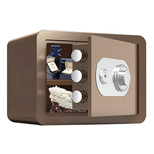 Safes Small Home, Steel Fireproof and Waterproof Storage Box, Wall-Mounted Anti-Theft Cash Cabinet, Height 25cm/30cm (Color : Brown, Size : 25x35x25cm)