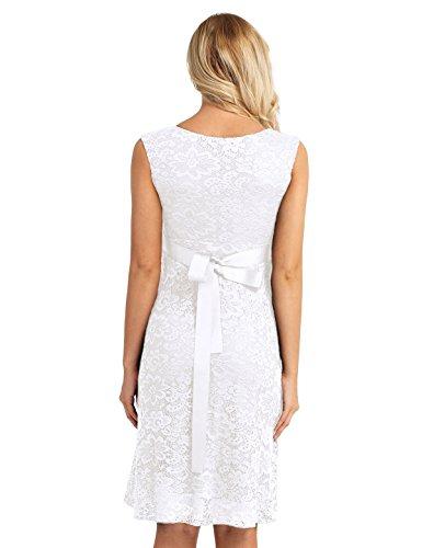 Tiaobug Damen Umstandskleid Spitzenkleid Frauen Schwangerschafts Kleid V-Ausschnitt Mutterschafts Kleid Fotografie Stillkleid mit Geknotetem Dekolleté Weiß Ärmellos - 3