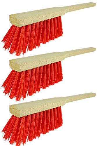Novaliv 4X Handfeger mit langem Stiel I 45 cm I Elaston I Schneebesen Holz Schnee Feger Kehrwisch dust Brush