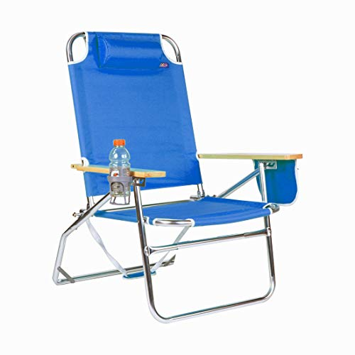 copa Oversized Heavy Duty 500Lbs Weight Limit Outdoor Beach & Camping Chair Big Jumbo & Big Fish Multi Position Aluminum Heavyweight Extra-Wide (Dark Blue)