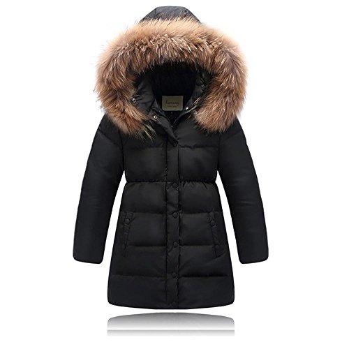 Seeduck Big Girls' Winter Parka Down Coat Puffer Down Jacket Padded Overcoat with Fur Hood (11T=150CM=59.1 Inch, Black)