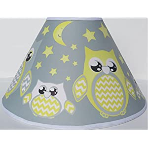 Grey and Yellow Owl Lamp Shade Children's Woodland Forest Animals Lampshade Nursery Room Decor