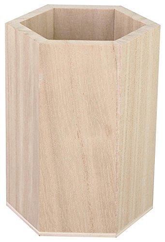Kreul 45156 - Holzstifthalter in Wabenform, Durchmesser ca. 8 cm, Höhe ca. 10,5 cm, unbehandelt, zum Verzieren mit verschiedenen Techniken und Farben