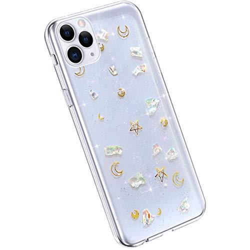 Ysimee Coque Compatible avec iPhone 11 Pro Etui Paillette Brillant Glitter Or Lune Étoilé Mignon Housse en Silicone Transparent Case Ultra Slim Flexible Coque Anti-Scratch TPU Bumper Cover