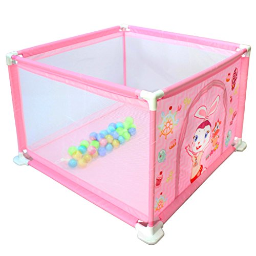 deAO Sicherheitslaufstall mit intergriertem Bällebad für Babys und Kleinkinder (ROSA Quadrat)
