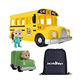 CoComelon Official Musical Yellow School Bus with Mini Vehicle Toy and Custom Increditoyz Toy Bag Bundled Set