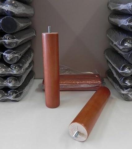 Pack 4 patas para somier o base tapizada cilÃndricas, madera color cerezo