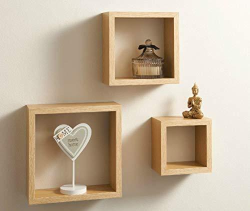 Modern Set of 3 Floating Wall Shelves Cube Shelf Oak