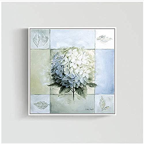 Canvas print,Schilderij elegante sneeuwbal bloesem canvas poster voor woonkamer bank achtergrond decor bruiloft gunst-50x50cm