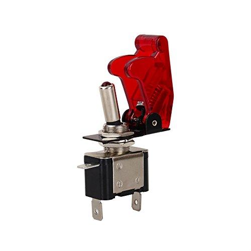Fydun Interruptor de palanca basculante de luz antiniebla SPST para automóvil Interruptor de encendido apagado de 12V 20A con cubierta de seguridad roja