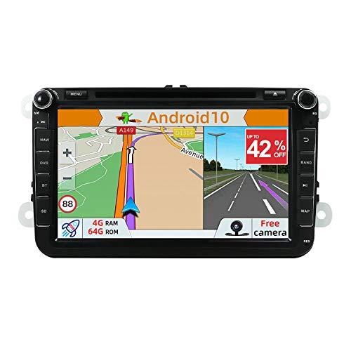 YUNTX Android 10 Autoradio Compatibile con VW Polo/Golf/Caddy/Passat - 4G64G - GPS 2 Din - Telecamera Posteriore Gratuiti - Supporto DAB + / CD/DVD / 4G / WiFi/Bluetooth/Mirrorlink/Carplay