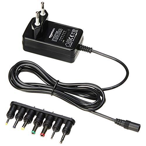 AmazonBasics - Adaptador de fuente de alimentación de CC, universal, con 7 conectores intercambiables, 3-12 V, polaridad reversible