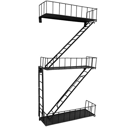 Beyond Basic Fire Escape Shelf - Unique New York Inspired Hanging Wall Shelves Make a Great Kitchen...
