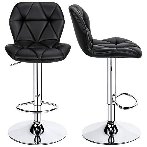 YAHEETECH 2 taburetes de bar ajustables de piel sintética de 360 ° sillas de barra giratoria con respaldo, altura de mostrador, taburetes de bar para la cocina del hogar, sillas de desayuno, color negro