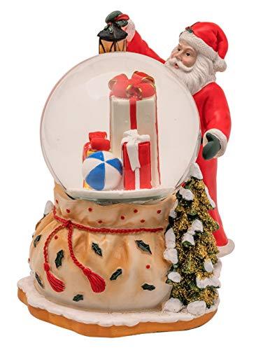 Wichtelstube-Kollektion LED Schneekugel Santa Claus elektr. Schneewirbel, viele Melodien und Farbwechsel
