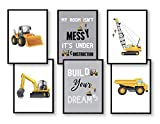 WIETRE® 6er Set Bilder Baufahrzeuge Bagger Kran