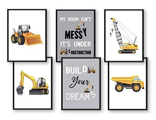WIETRE® 6er Set Bilder Baufahrzeuge Bagger Kran Kinderzimmer Deko | Bild Junge Babyzimmer Poster DIN A4 | LKW Baustelle Stapler Walze Auto Fahrzeuge Dekoration - ohne Rahmen