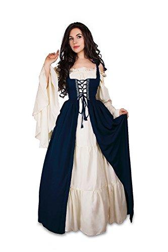 Mythic Renaissance Mittelalter Irisches Kostüm über Kleid & cremefarbenes Unterkleid -  Blau -  XX-Large/XXX-Large
