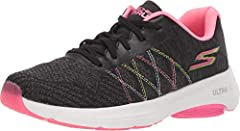 Enhance your run with the comfort and style of the SKECHERS® Go Run Viz Tech sneaker. Knit mesh fabric upper features a virtually seamless finish. Lace-up design offers a secure fit. Round toe with durable reinforcement. Padded tongue and collar. Sig...