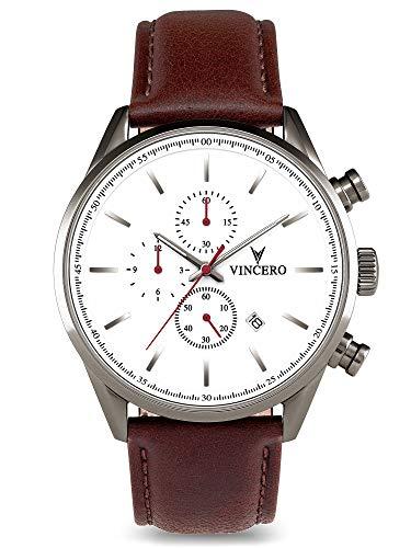 Vincero Luxury Men's Chrono S Wrist Watch - Top Grain Italian Leather Watch Band - 43mm Chronograph Watch - Japanese Quartz Movement (Nickel/Oxblood)