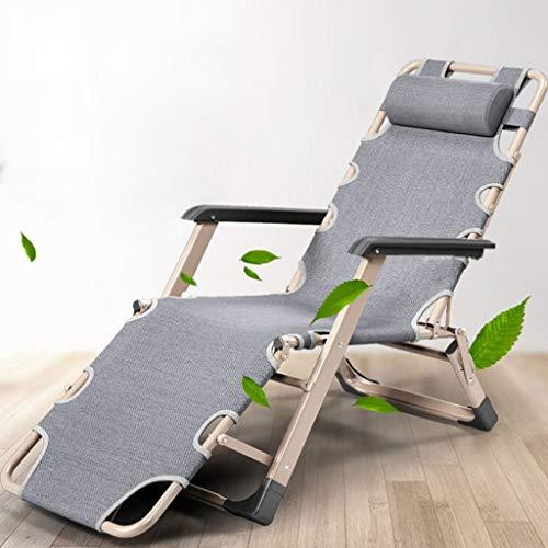 Mentaal Folding Reclining Sun Lounger, Zero Gravity Garden Chair Adjustable Portable Recliner for Home Outdoor Beach Patio,Gray,Without Cotton Cushion