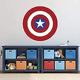 Captain America Decor Vinyl Wall Decal - Superhero Icon, Emblem, Symbol, or Logo from Marvel Comics for Kids Boys Rooms