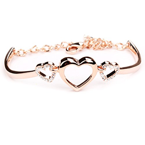 Miya® Meine Liebe Schatz Luxus Edelstahl Damen Armreif, MEGA Glamour Armband mit süße Herz, Herzchen, dekoriert mit glänzenden Kristallen, Armkette, Rose Gold