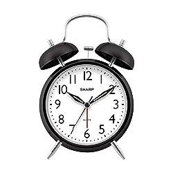 Sharp Twin Bell Alarm Clock - Loud Alarm - Great for Heavy Sleepers - Battery Operated Quartz Analog … (Midnight Black)