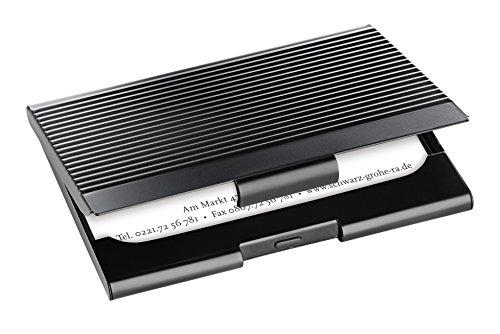 Exclusivo porta-tarjetas color negro mate de acero inoxidable de alta calidad Este moderno tarjetero se destaca por su cómodo formato con espacio suficiente para guardar y proteger las tarjetas de visita de forma óptima Tarjetero con superficie metál...