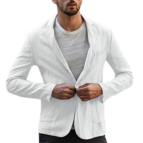 Xmiral Herren Dünn Jackett Outwear Umlegekragen Einfarbig Sport Shirt mit Tasche Slim Fit Wanderjacke Formal Geschäft Arbeitsplätze Mantel(a Weiß,M)