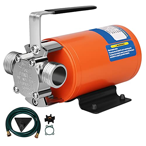 Water Pump 12V Water Pump 1/10 HP 330 GPH Water Transfer Pump With 3/4 inch Ports Suction Hose And Spare Impeller Electric Water Pump Utility Pump-Orange