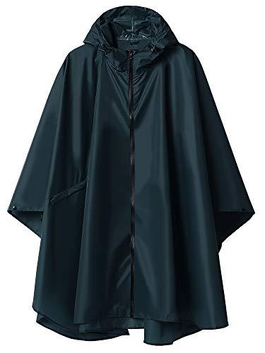 Regenponcho Jacke Mantel Kapuze für Erwachsene mit Taschen - Blau - Einheitsgröße