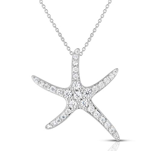 Unique Royal Jewelry 925 Sterling Silver Clustered Pave Cubic Zirconia Large Starfish (Sea Star) Pendant and 18' Necklace. (Rhodium-Plated Sterling Silver)