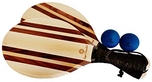 Capri Frescobol Classic Solid Wood Beach Paddle Ball Set – Complete with 2 expertly Crafted Paddles with Hand Straps, 2 hi-res Balls & a Beach Bag to Carry it All in.