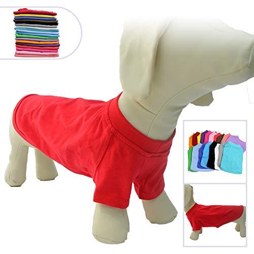 lovelonglong Hund T-Shirt Party Kostüm Atmungsaktive Baumwolle Einfarbig Kurzarm T-Shirt für Der Dachhund Dackel Hund Corgi. Red D-M