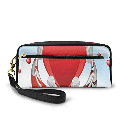 Pencil Case Pen Bag Pouch Stationary,Underwater Animals in Asian Culture Kissing in Front of Giant Heart,Small Makeup Bag Coin Purse
