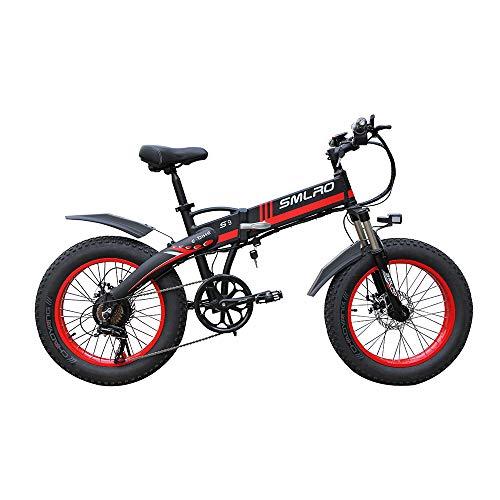 WQY Bicicleta Eléctrica Plegable Ciclomotor 20 * 4.0 Pulgadas Playa Nieve Grasa Bicicleta De Montaña 350W Bicicleta Eléctrica con Batería Extraíble De Iones De Litio De 48V para Adultos,Rojo