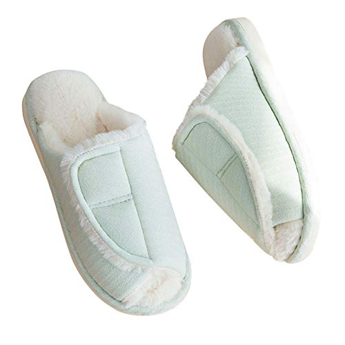 Adjustable Fuzzy Slippers - Velcro Wrap Warm House Slippers Anti Skid Wide Shoes for Womens Mens Orthopedic - Mint Green/US 6-7