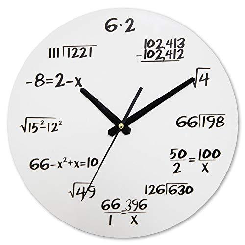 Yipianyun Wanduhr Moderne Mathematische Design Acryl-Wanduhr Durch Eine Einfache Mathematische Gleichung Dekoriert,Weiß