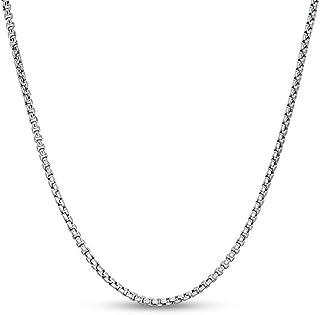 ARGENTO REALE Cadena de plata de ley 925 maciza redonda de eslabones – Cadena de rodio 925 de 1,5 a 3,5 mm, cadena de caj...