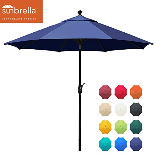 EliteShade Sunbrella 9Ft Market Umbrella Patio Outdoor Table Umbrella with Ventilation and 5 Years Non-Fading Top,Navy Blue
