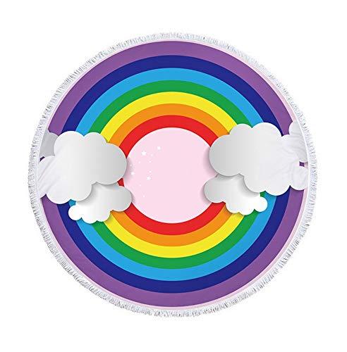 XIAOBAOZISTJ Runder Strandtuch Wandteppich Bunter Regenbogen Fransedruck Dick Und Weich Hippie-Picknickdecke Badetuch Yogamatte (Weiße Wolken